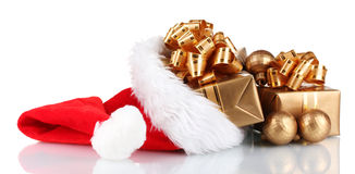 Beautiful Christmas hat with gifts Royalty Free Stock Photo