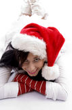 beautiful christmas hat smiling wearing woman Στοκ Φωτογραφία