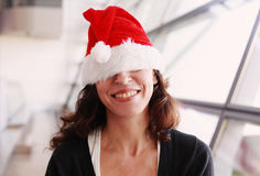 beautiful christmas hat wearing woman Στοκ Φωτογραφίες