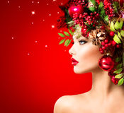 Beautiful Christmas Holiday Hairstyle Stock Photos