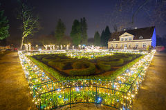 Beautiful Christmas illumination at the park Royalty Free Stock Photo