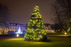 Beautiful Christmas illumination at the park Stock Photos