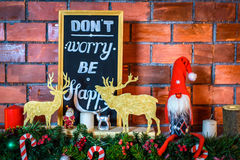 Beautiful Christmas interior. Brick new year decorations.  Stock Images