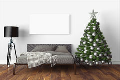 Beautiful Christmas interior . 3D rendering. Beautiful modern interior with Christmas tree. 3D rendering Royalty Free Stock Image