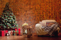 Beautiful Christmas interior with decorated fir tree Stock Image