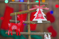Beautiful Christmas interior decoration. Creative Christmas tree decoration with handmade ornaments Stock Images