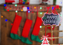 Beautiful Christmas interior decoration. Creative Christmas tree decoration with handmade ornaments Royalty Free Stock Photo