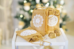Beautiful Christmas interior decoration. Decoration element creative ideas with lace and linen on Christmas lights background Stock Images