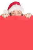 Beautiful christmas lady holding a card Royalty Free Stock Photo
