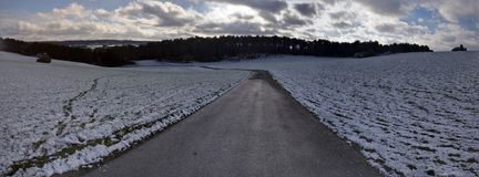 Snowy Panorama of Landscape in winter in the Eifel royalty free stock images