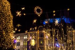 Beautiful Christmas lights, decorations in street in Ljubljana, Slovenia. Christmas lights and atmosphere at Advent in centre in Ljubljana. Christmas decoratons stock photography
