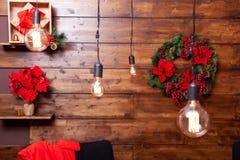 Beautiful Christmas lights design for holiday spirit. Great feeling stock photo