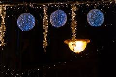 Beautiful Christmas lights hanging on the street, Leuven Belgium stock photo