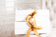 Beautiful luxury gift box with ribbon. Royalty Free Stock Photo
