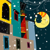 Beautiful Christmas midnight in the city. Vector beautiful Christmas midnight in the city Stock Photos