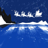 Beautiful Christmas (New Year) background. White Santa Claus with deers on blue Christmas (New Year) background Royalty Free Illustration