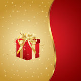 Beautiful Christmas and New Year Illustration. With gift Stock Photography