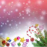 Christmas and New Year`s background in the natural color of the living coral - the color of the year 2019 stock image