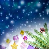 Beautiful Christmas and New Year`s background with Christmas tree branches, toys and sweets. royalty free stock photos
