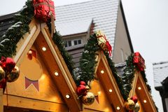 Beautiful Christmas and New Years scene. / Christmas market Royalty Free Stock Photography