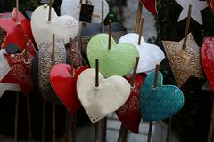 Beautiful Christmas and New Years scene. / Christmas market Royalty Free Stock Images
