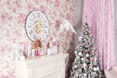 Beautiful Christmas nice pink interior. Concept of Merry Christmas and Happy New Year stock photography