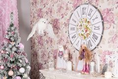 Beautiful Christmas nice pink interior. Concept of Merry Christmas and Happy New Year stock images