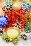 Beautiful Christmas ornaments as table decoration. New year balloons candle Royalty Free Stock Images