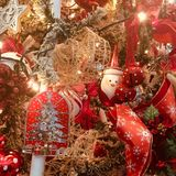 Chrismas Ornaments. Beautiful Christmas ornaments on a Christmas tree Stock Photography