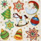 Beautiful Christmas pattern on napkin Stock Photo