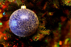 Beautiful Christmas picture with Christmas tree and ball. New Years Eve celebration background with blue snow  ball decorations. Bokeh green  tree brunch Royalty Free Stock Image