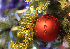 Beautiful Christmas picture with Christmas tree and ball. New Years Eve celebration background with Red ball decorations. Bokeh gold garland on green  tree Stock Photos