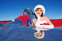 Beautiful Christmas pin up girl Stock Images