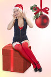 Beautiful christmas pinup girl Stock Photos