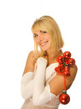 Beautiful Christmas pricess. Beautiful pricess with chrirsmas decoration Stock Photos