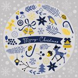 Beautiful Christmas round composition Stock Images
