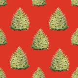 Watercolor fir tree christmas pattern. Beautiful christmas seamless pattern with watercolor fir trees Stock Illustration
