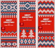 Beautiful Christmas set of banners with lace Royalty Free Stock Image