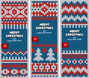 Beautiful Christmas set of banners with lace Royalty Free Stock Photography