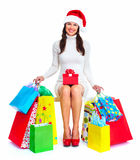 Beautiful Christmas Shopping woman. Stock Photos