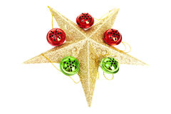 Beautiful Christmas Star with Christmas Ornaments. Beautiful Christmas Starwith Christmas Ornaments on White Background stock photo