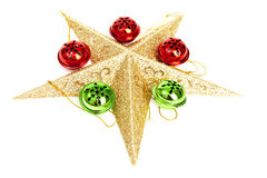 Beautiful Christmas Star with Christmas Ornaments. Beautiful Christmas Starwith Christmas Ornaments on White Background stock photography