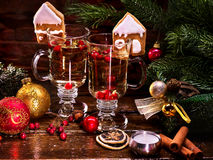 Beautiful Christmas still life with two glasses of hot punch. Royalty Free Stock Image