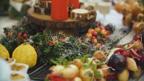 Beautiful Christmas table. New year decorations for the buffet table stock video footage