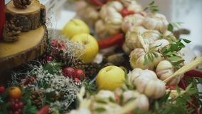 Beautiful Christmas table. New year decorations for the buffet table. stock footage