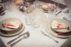 Beautiful Christmas table setting Royalty Free Stock Image