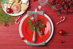 Beautiful Christmas table setting stock photos