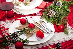 Beautiful Christmas table setting with decorations,festive table royalty free stock photo