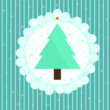 Beautiful Christmas tree on blue striped background Stock Photography