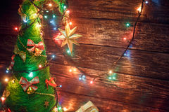Beautiful Christmas tree with colored lights and gifts. ! Royalty Free Stock Images
